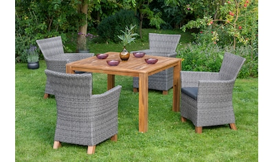 MERXX Gartenmöbelset »Toskana«, 9 - tlg., 4 Sessel, 1 Tisch 110x110 cm, Aluminium kaufen