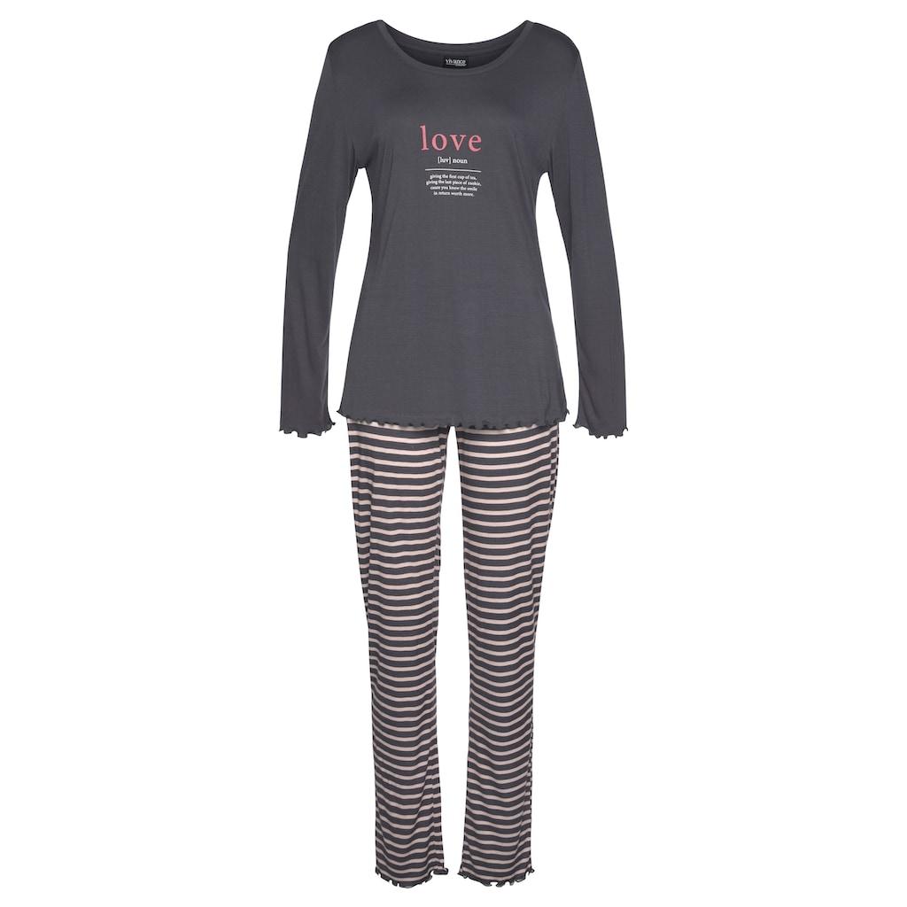 Vivance Dreams Pyjama, mit Kräuselsäumen