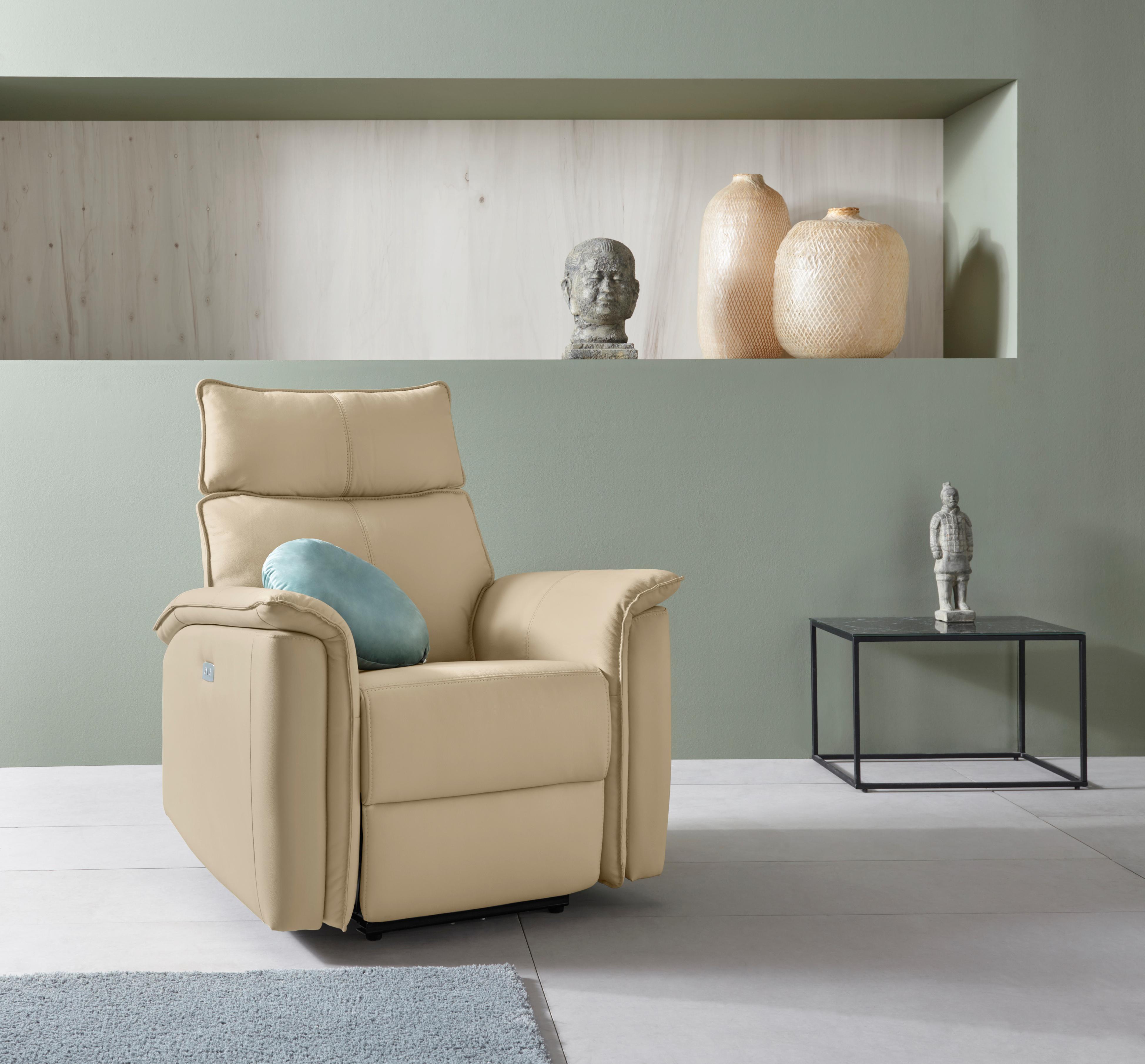 Places of Style Relaxsessel Zola mit hohen Sitzkomfort elektischer Relaxfunktion und USB-Steckeranschluss Breite 87 cm