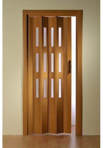 Falttür, Höhe nach Maß, Buchefarben mit Molato Cristal Fenster kaufen