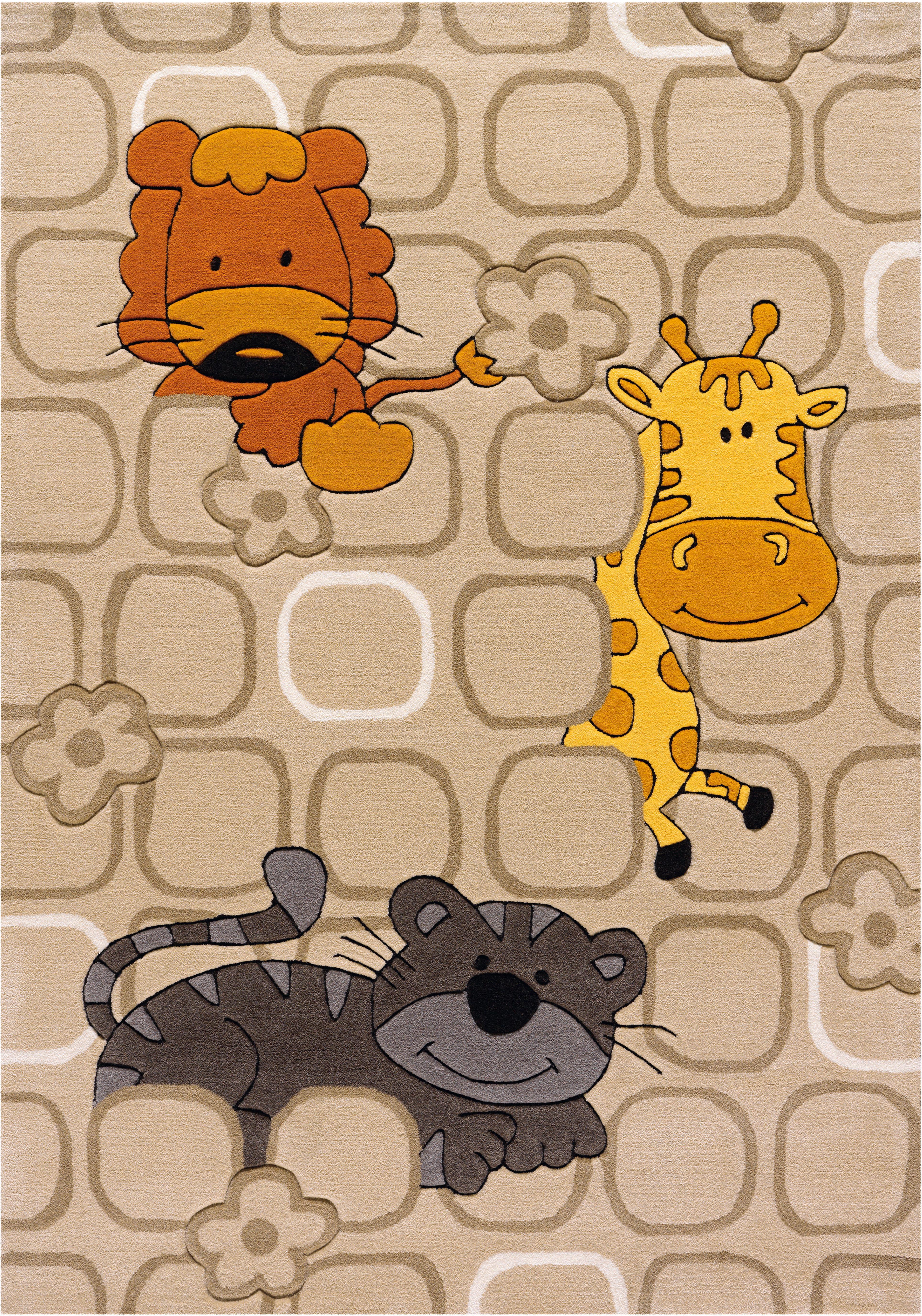 Arte Espina Kinderteppich Sam 4153, rechteckig, 11 mm Höhe, Motiv Dschungel Tiere beige Kinder Bunte Kinderteppiche Teppiche