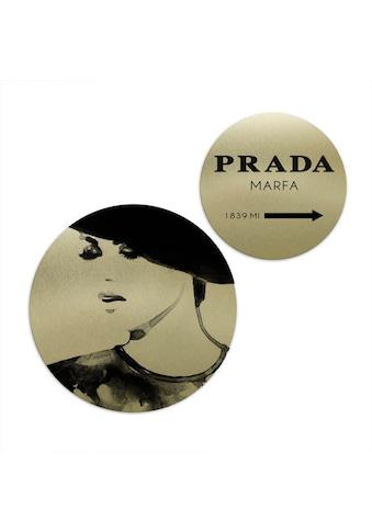 Wall-Art Mehrteilige Bilder »Goldeffekt Prada Marfa Set Rund«, (Set, 2 St.) kaufen