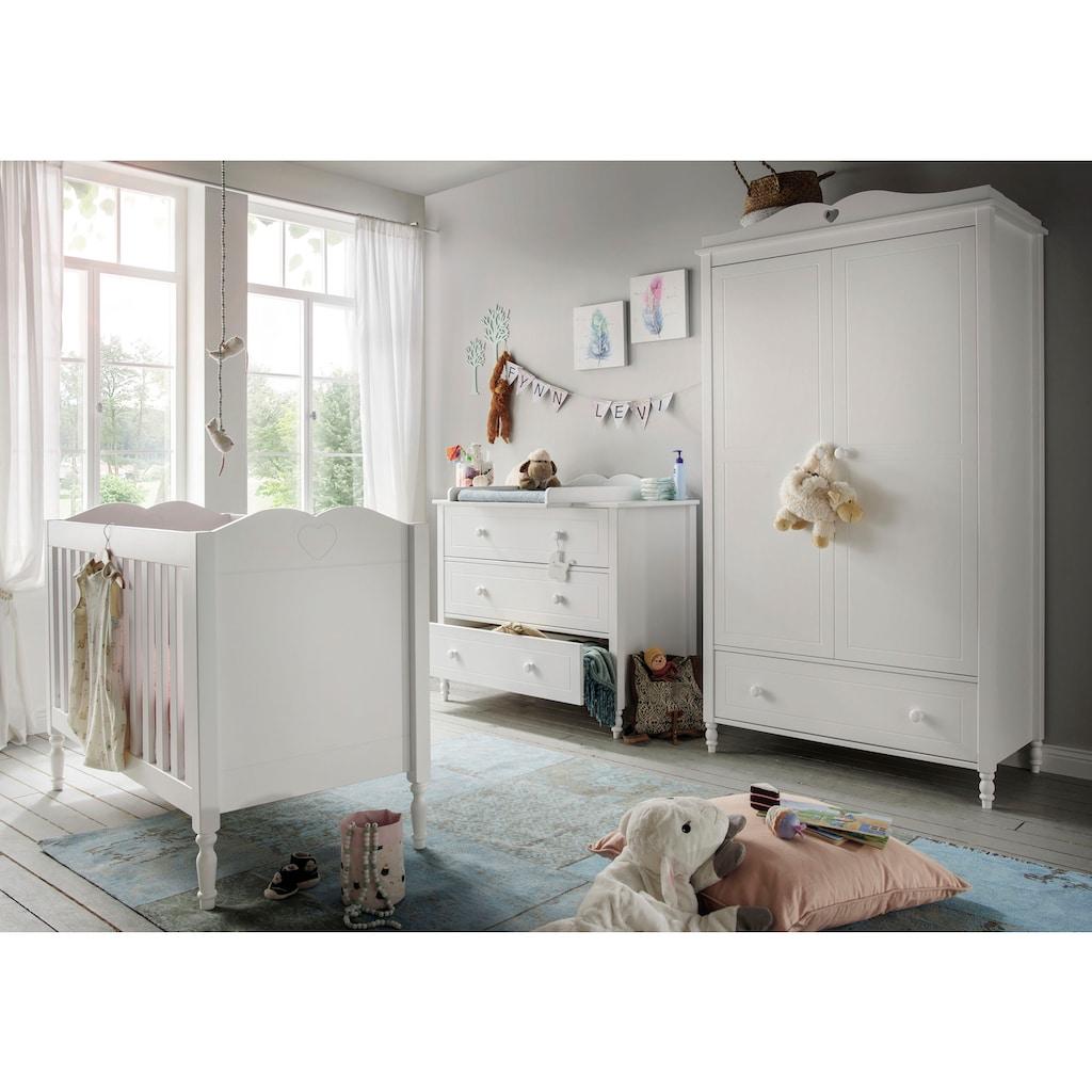 Fantasykids Babyzimmer-Komplettset, (3 St., Bett + Wickelkommode + 2-trg. Schrank)