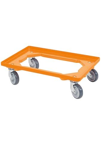 Transportroller, BxT: 60x40 cm, orange 4 Lenkrollen, graue Gummiräder kaufen