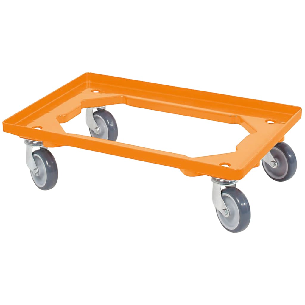 Transportroller, BxT: 60x40 cm, orange 4 Lenkrollen, graue Gummiräder