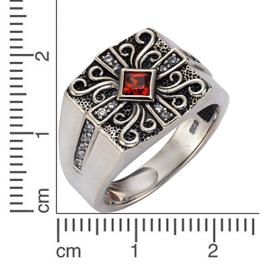 Firetti Fingerring »strukturiert und oxidiert«, mit Zirkonia