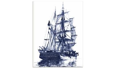 Artland Glasbild »Antikes Schiff in blau I« kaufen
