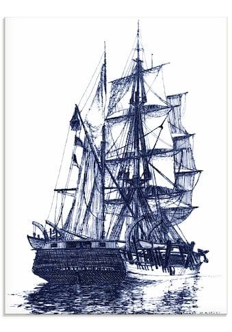 Artland Glasbild »Antikes Schiff in blau I«, Boote & Schiffe, (1 St.) kaufen
