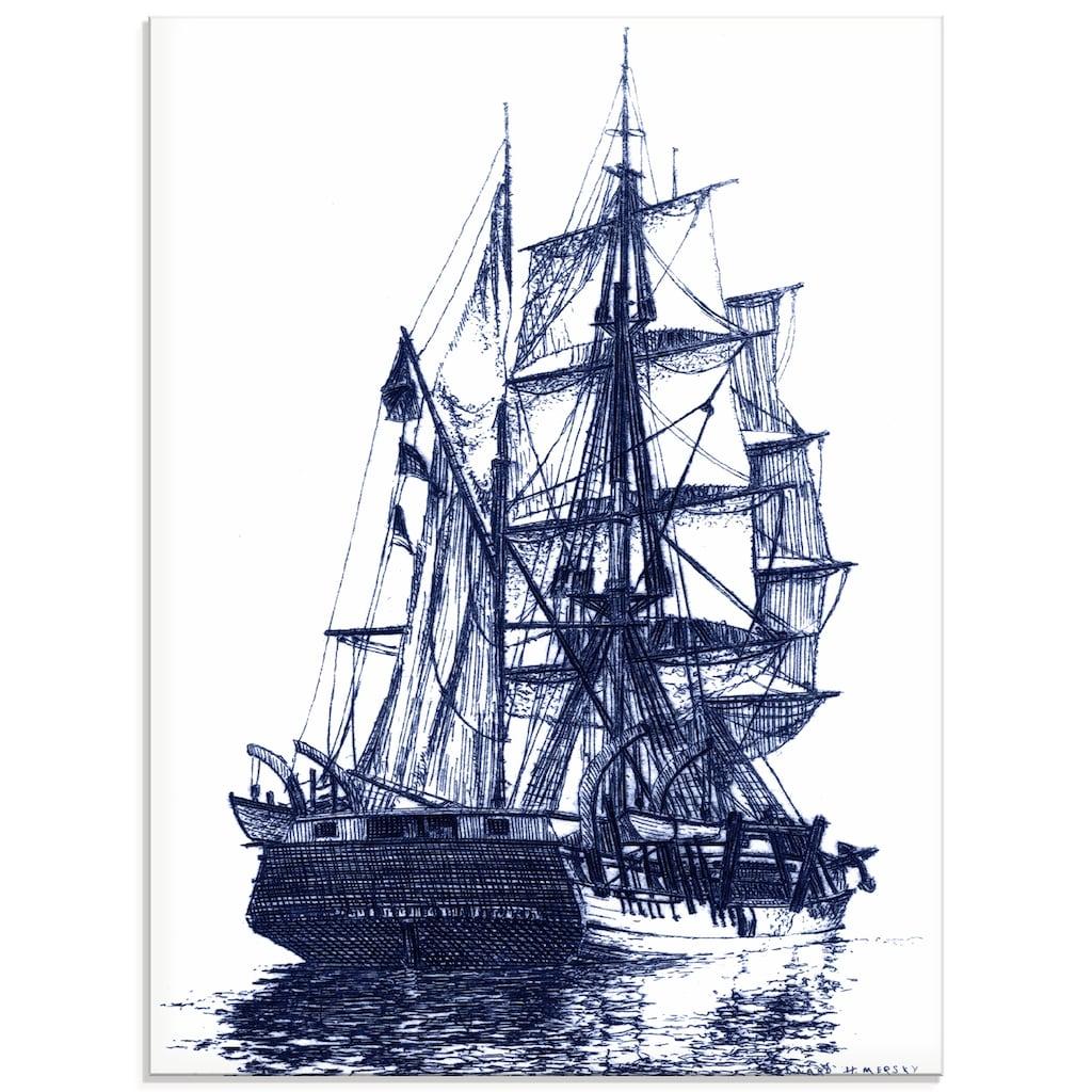 Artland Glasbild »Antikes Schiff in blau I«, Boote & Schiffe, (1 St.)