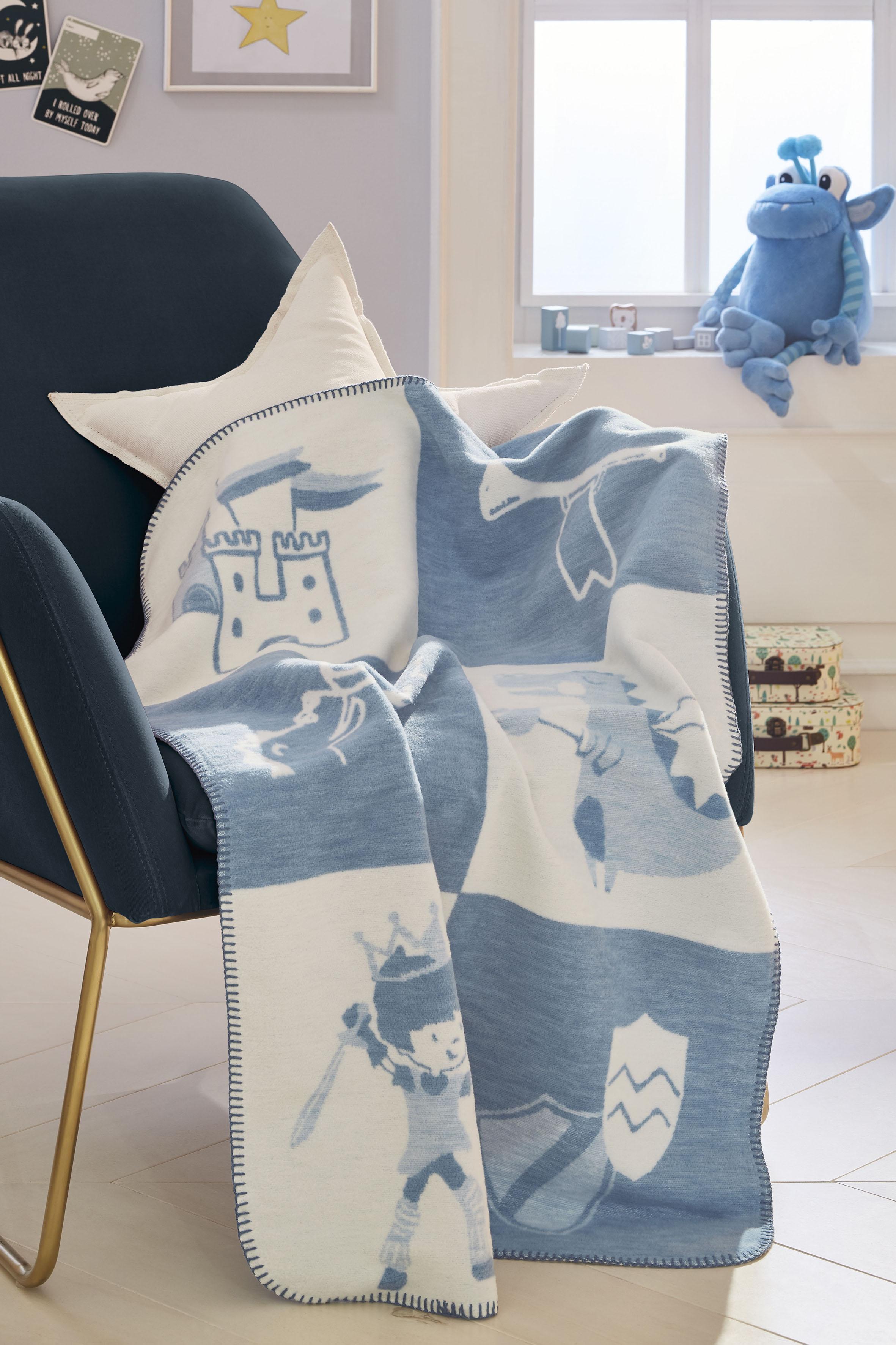 s.Oliver Junior Babydecke Ritter, GOTS zertifiziert blau Baby Babydecken Decken
