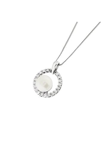 Smart Jewel Kette mit Anhänger »Zirkonia Steine und Perle, Silber 925, diamantierte Panzerkette« kaufen
