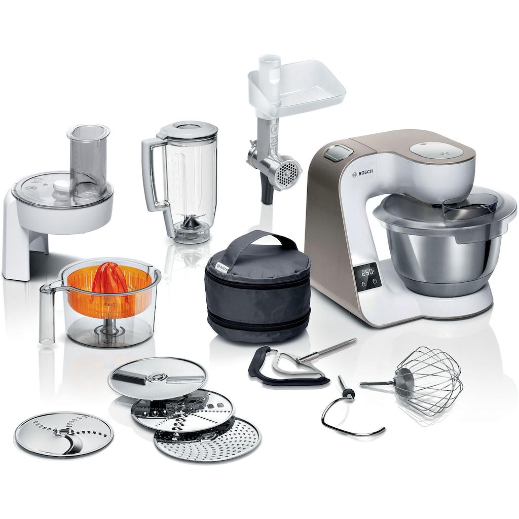 BOSCH Küchenmaschine »MUM5XW40 MUM5«, 1000 W, 3,9 l Schüssel, integrierte Waage, Profi-Patisserie-Set, Durchlaufschnitzler, 4 Reibescheiben, Fleischwolf, Zitruspresse, weiß/champagner