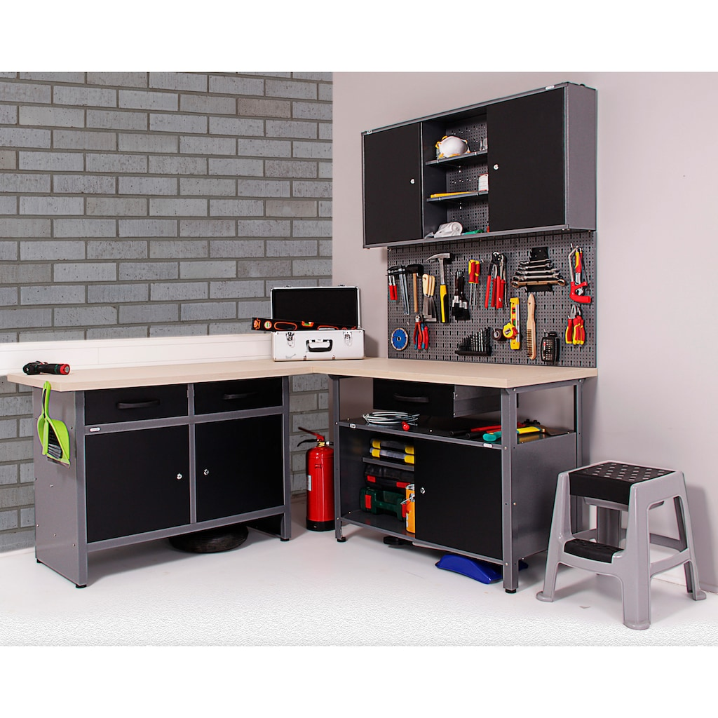 ONDIS24 Werkstatt-Set »Basic One«, 2x Werkbank, 1x Werkstattschrank, 3x Lochwand