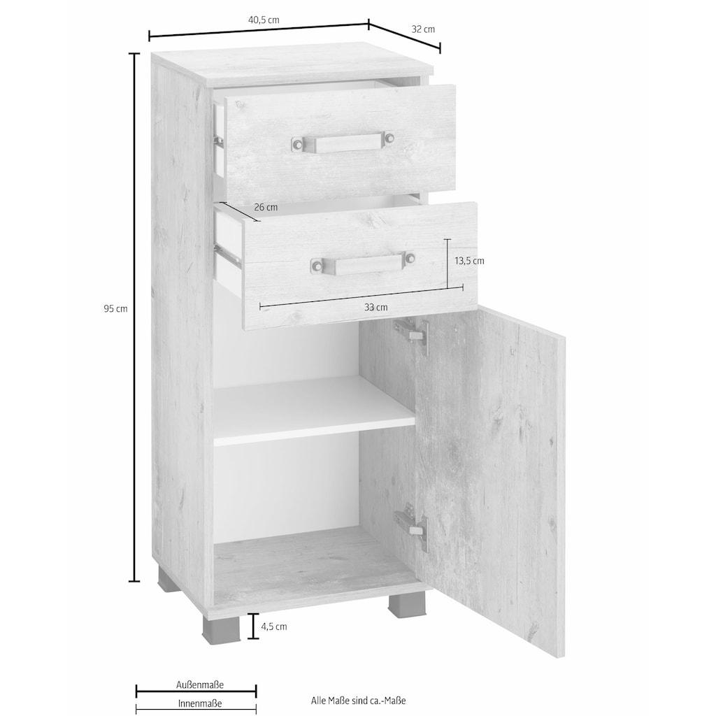 Schildmeyer Unterschrank »Milan«, Breite 40,5 cm, mit 1 Tür, 2 Schubladen & Metallgriffen