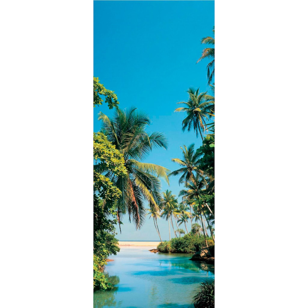 Papermoon Fototapete »Palm Logoon - Türtapete«, matt, Vlies, 2 Bahnen, 90 x 200 cm