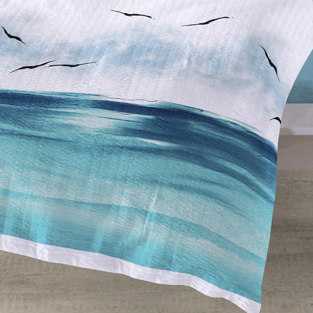 TRAUMSCHLAF Bettwäsche »Küstenbrise Ozean«, bügelfreie Seersucker Qualität