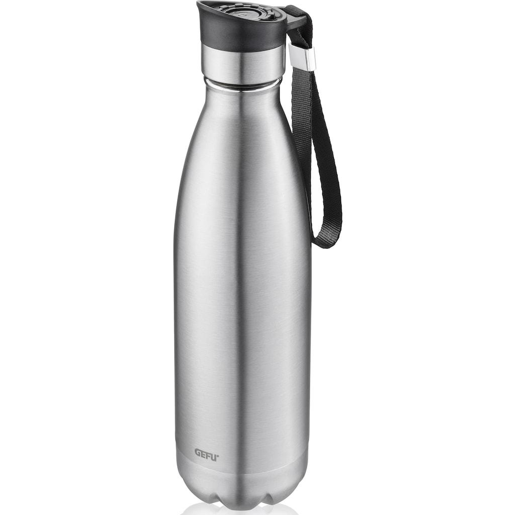 GEFU Thermoflasche »OLIMPIO«, (mit Haltegurt), ideal für kohlensäurehaltige Getränke