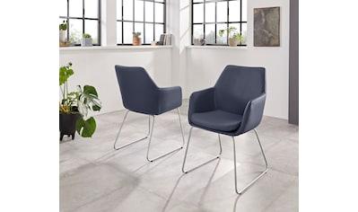Armlehnstuhl »Helsinki«, (2 Stück), Bezug in Webstoff in Kombination mit Kunstleder oder Leder und das Gestell aus Edelstahl kaufen
