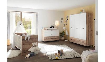 Begabino Babyzimmer-Komplettset »Ronny«, (Set, 3 St.), Bett + Wickelkommode + 3-trg.... kaufen