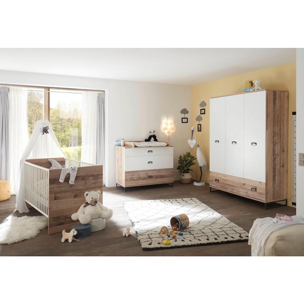 Begabino Babyzimmer-Komplettset »Ronny«, (Set, 3 St.), Bett + Wickelkommode + 3-trg. Schrank