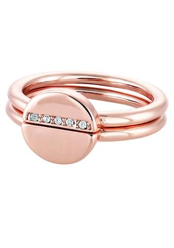 Buckley London Fingerring »Messing rot vergoldet Kristall«, Ring kaufen