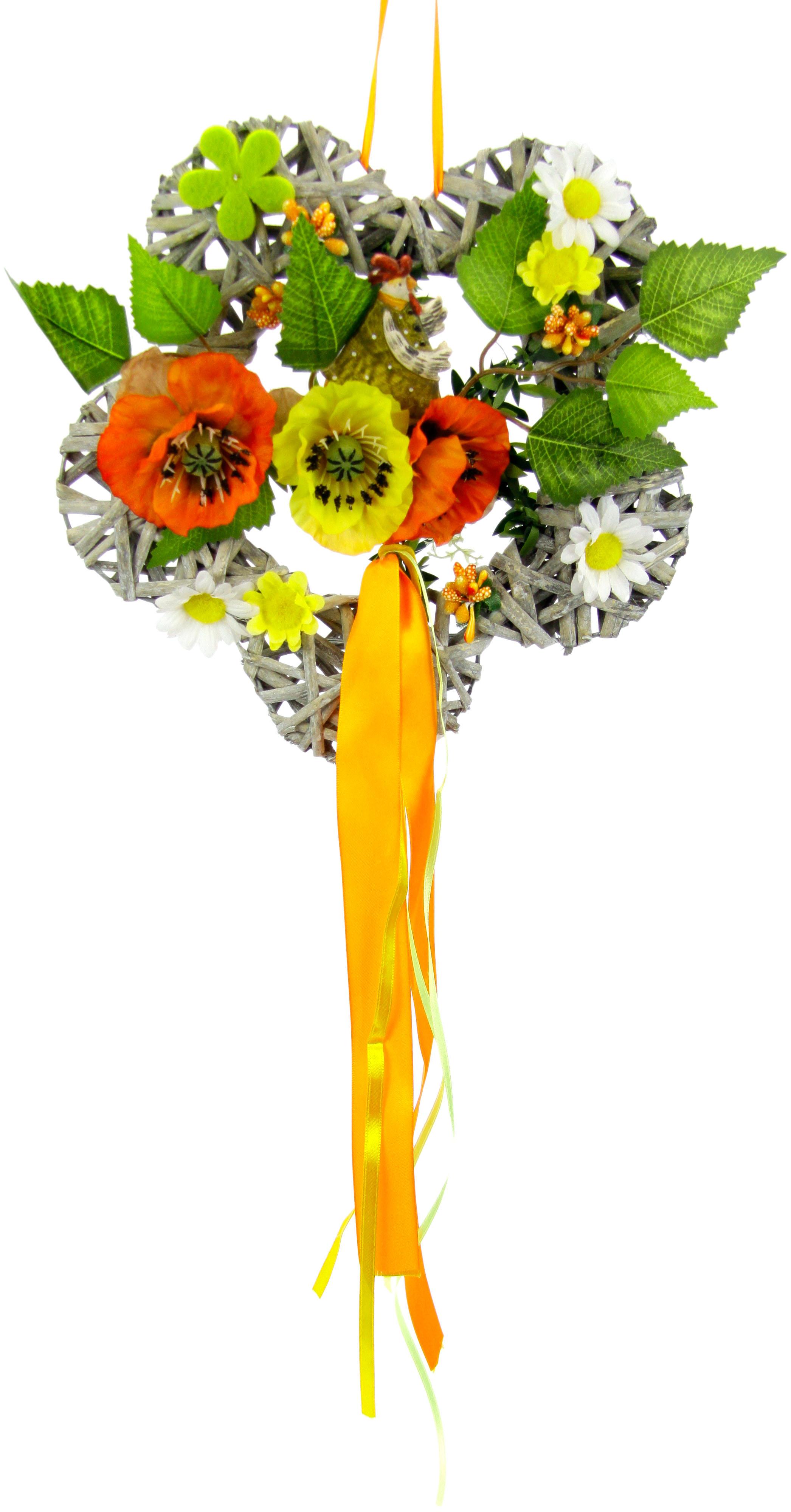 I.GE.A. Kunstkranz Holzblume orange Kunstkränze Kunstpflanzen Wohnaccessoires