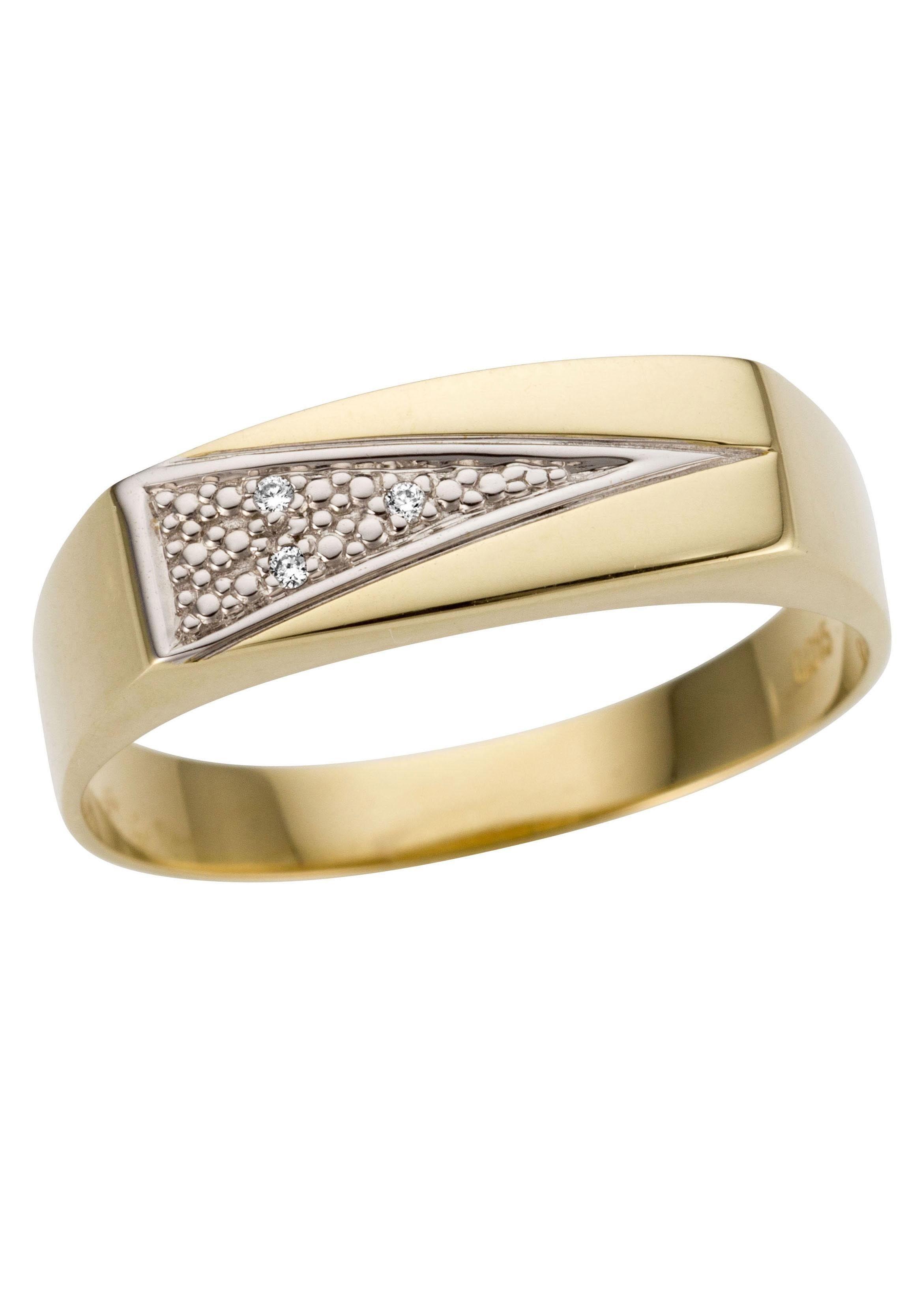Firetti Goldring Siegelring,bicolor, glanz, rhodinierte Fassung, massiv, dreieckig | Schmuck | Firetti