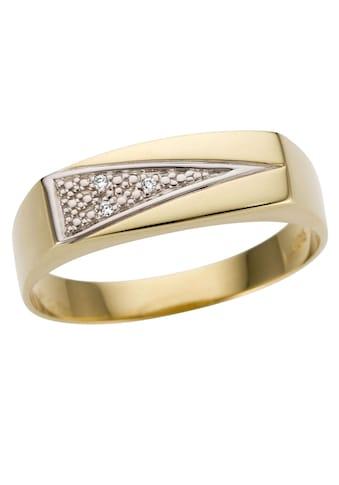Firetti Goldring »Siegelring,bicolor, glanz, rhodinierte Fassung, massiv, dreieckig«, mit Brillanten kaufen