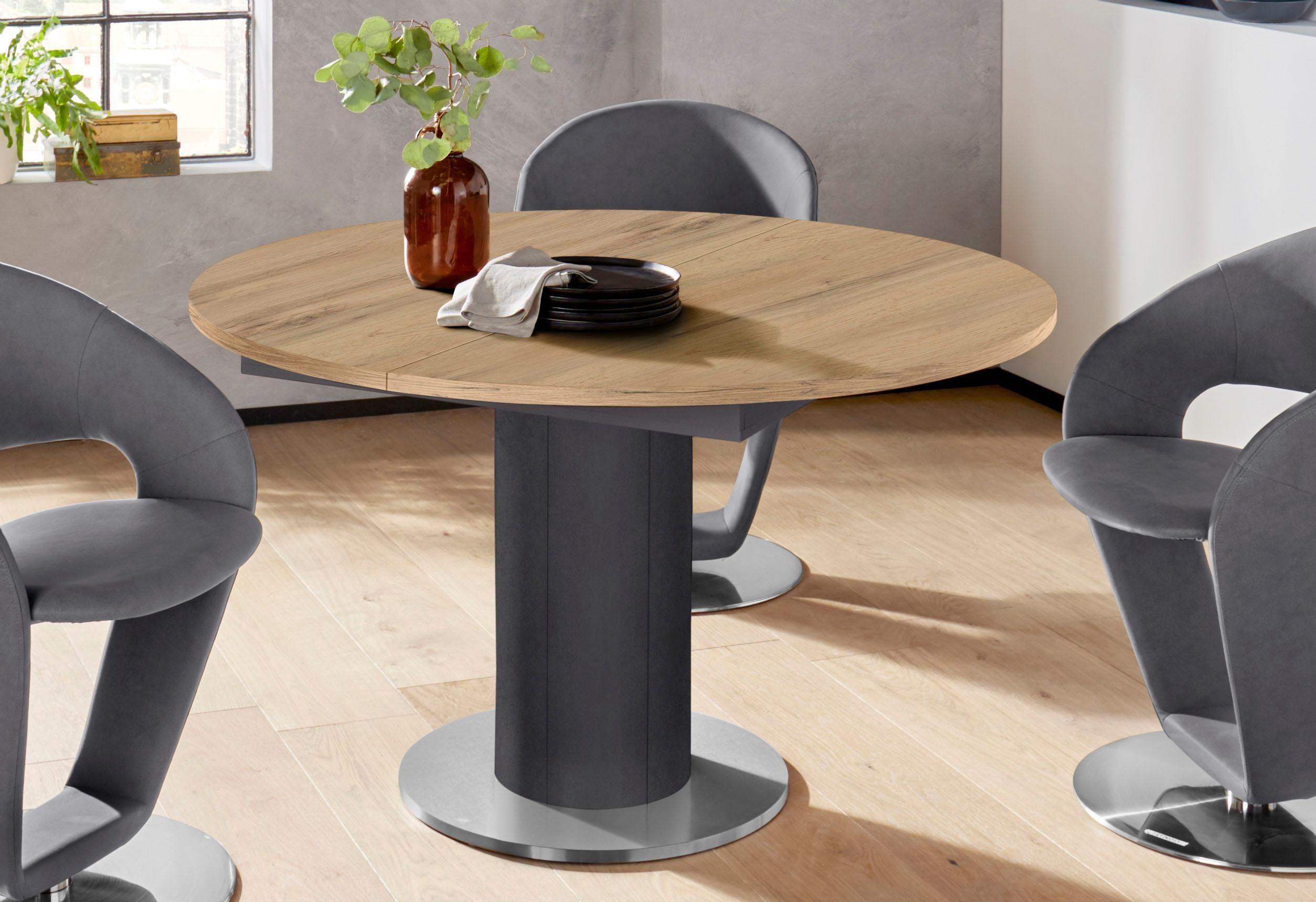 Mäusbacher Esstisch, rund, Untergestell Säule beige Esstisch Ausziehbare Esstische Tische