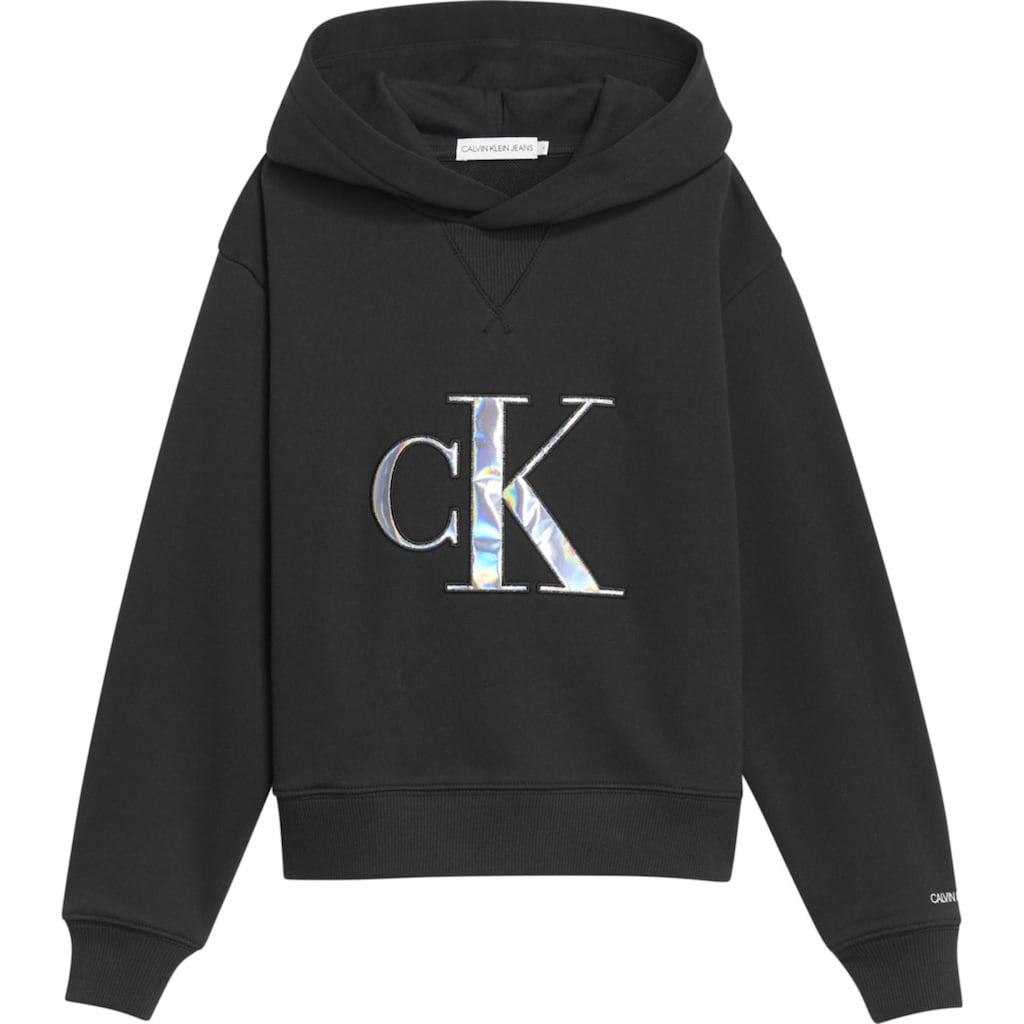 Calvin Klein Jeans Kapuzensweatshirt »MONOGRAM APPLIQUE HOODIE«, mit aufwendiger Applikation