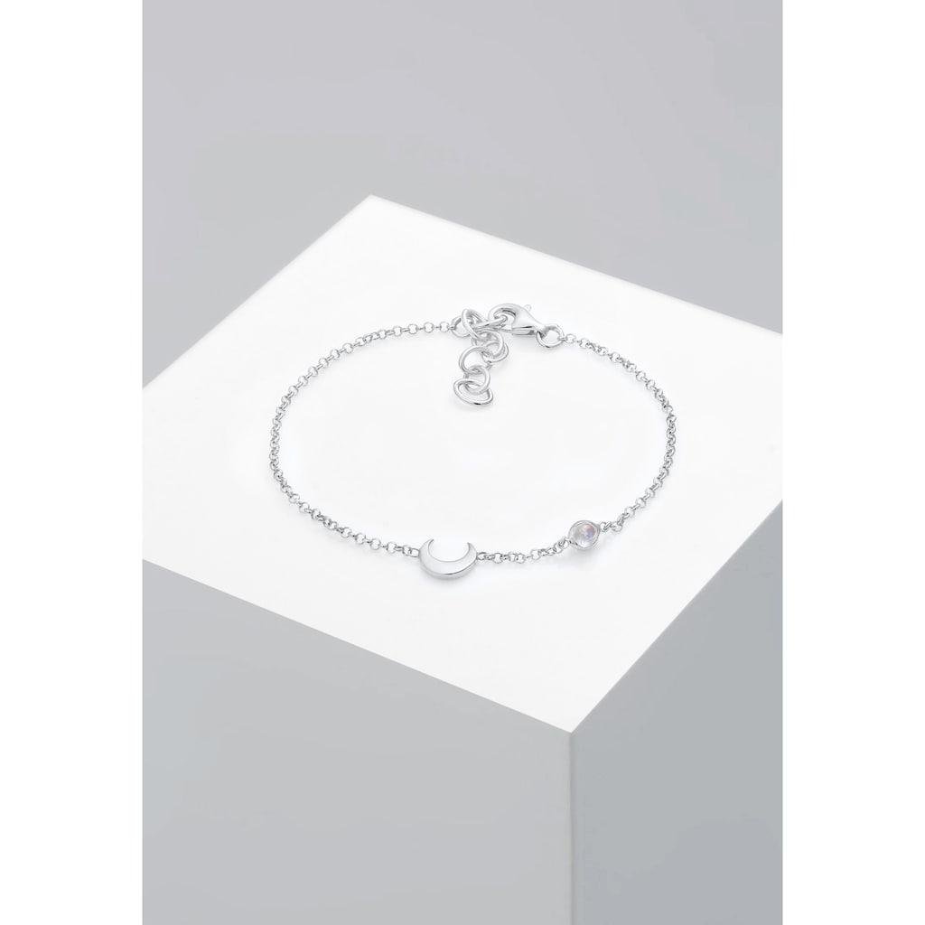 Elli Armband »Halbmond und Mondstein 925 Silber vergoldet«