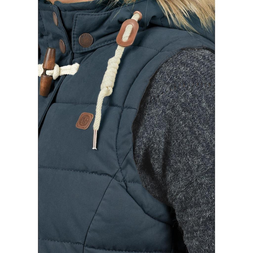 DESIRES Kurzweste »Lori«, Steppweste mit abnehmbarer Kapuze und Kunstfellkragen