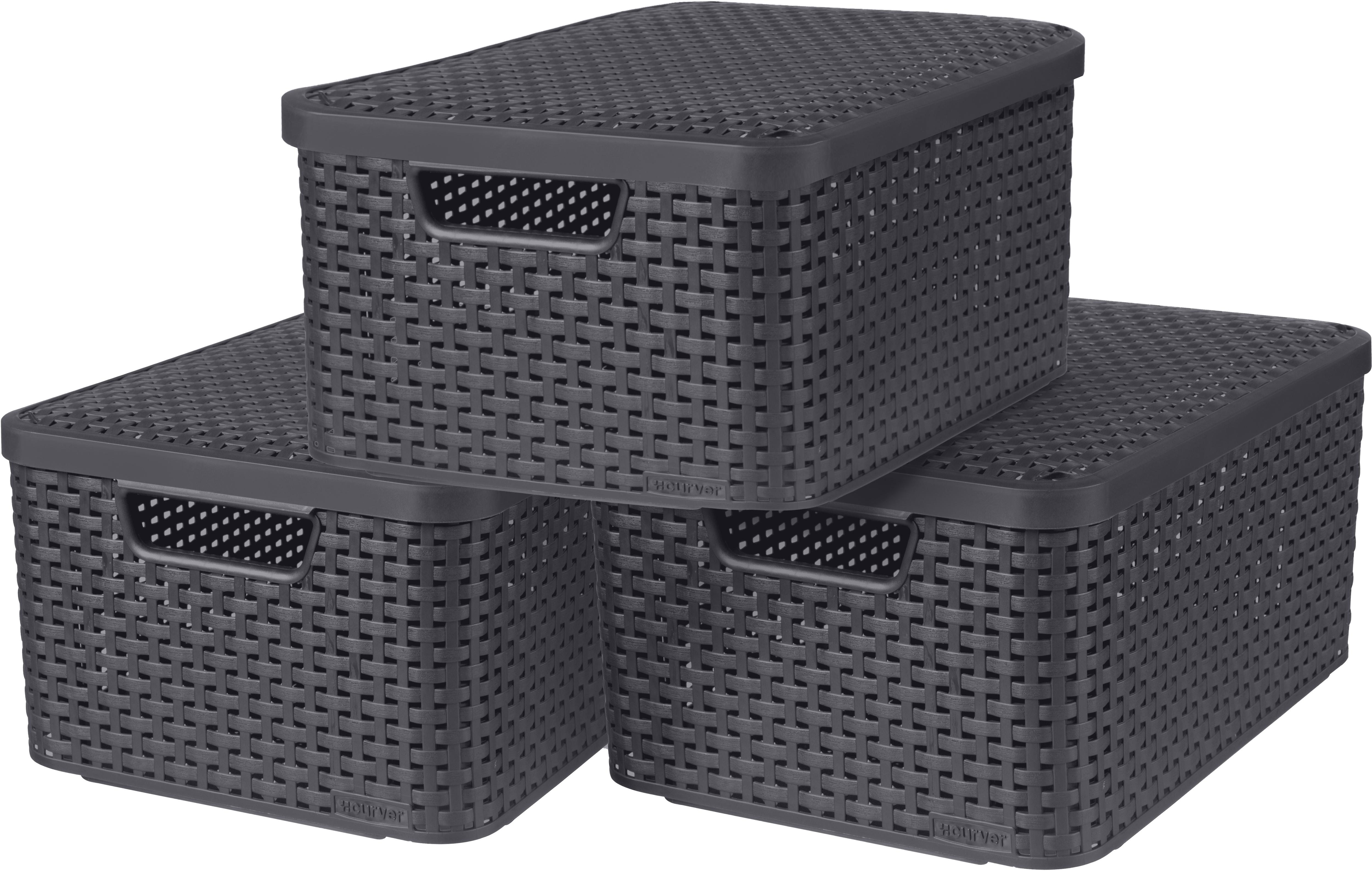 Curver Aufbewahrungsbox Style M, (Set, 3 St.), mit Deckel anthrazit, x 18 Liter grau Kleideraufbewahrung Aufbewahrung Ordnung Wohnaccessoires
