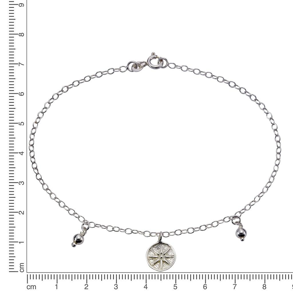 Zeeme Fußkette »925 Silber rhodiniert Windrose«, Ankerkette