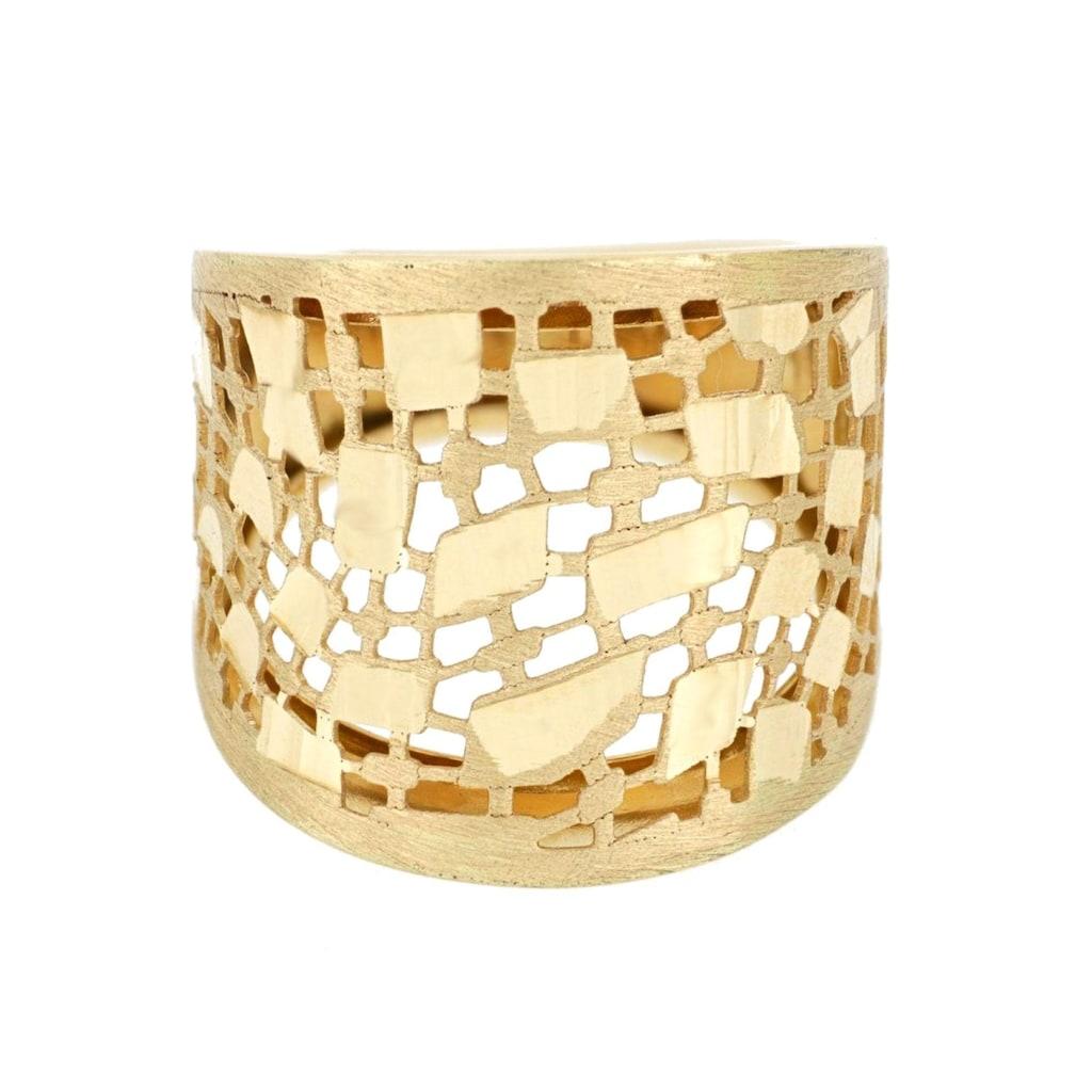 Firetti Goldring »mit toller Oberfläche, im Verlauf gebürstet/satiniert in filigraner Optik, mit diamantierten Plättchen, Ringschiene gebördelt«