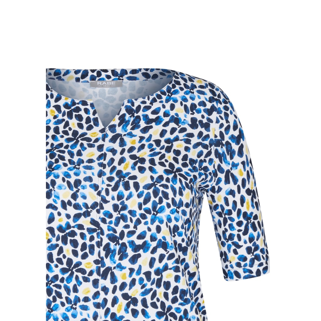 Rabe Rundhalsshirt, mit getupftem Muster und halblangen Ärmeln
