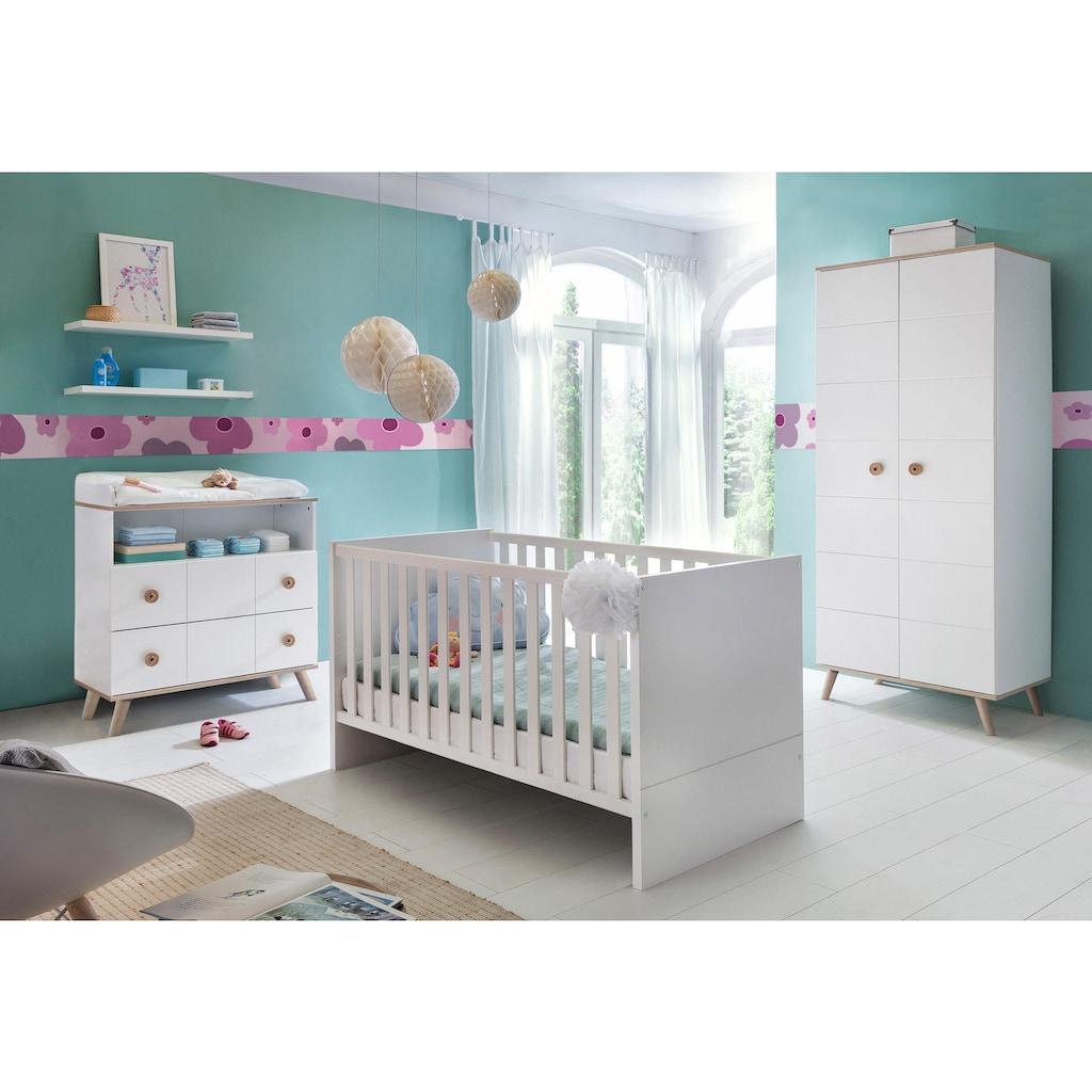Babyzimmer-Komplettset »Cannes«, (Set, 3 St.), Bett + Wickelkommode + 2 trg. Schrank