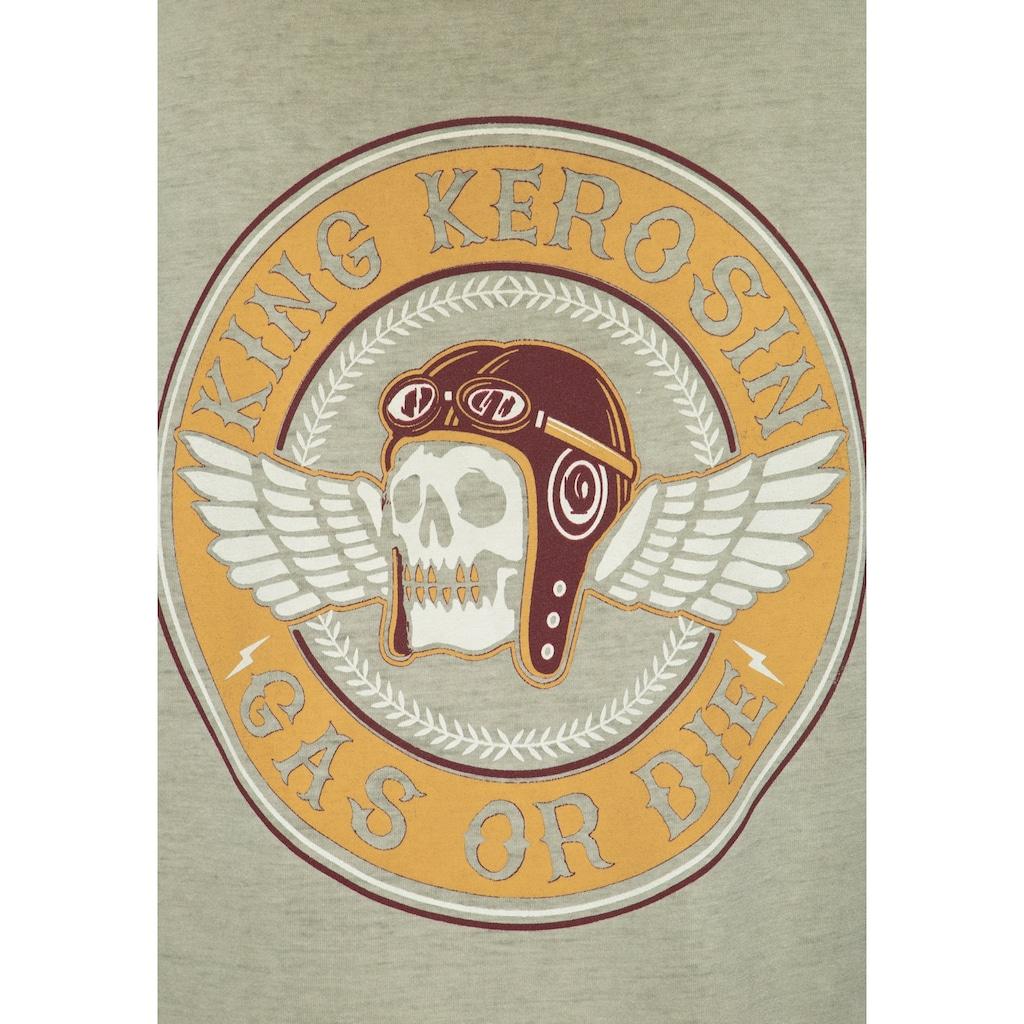 KingKerosin Longsleeve »Racing Skull«, mit Prints, Stickerei und Oilwash-Effekt