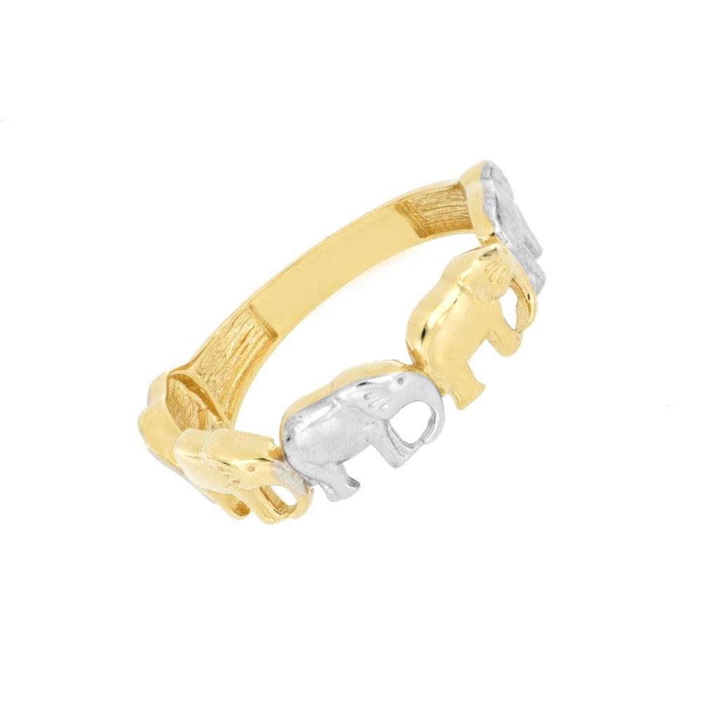 La Piora Goldring »Elefanten«, Ring poliert, 585/- Gelbgold rhodiniert