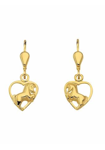 Adelia´s Paar Ohrhänger »333 Gold Ohrringe / Ohrhänger Herz«, Goldschmuck für Damen kaufen