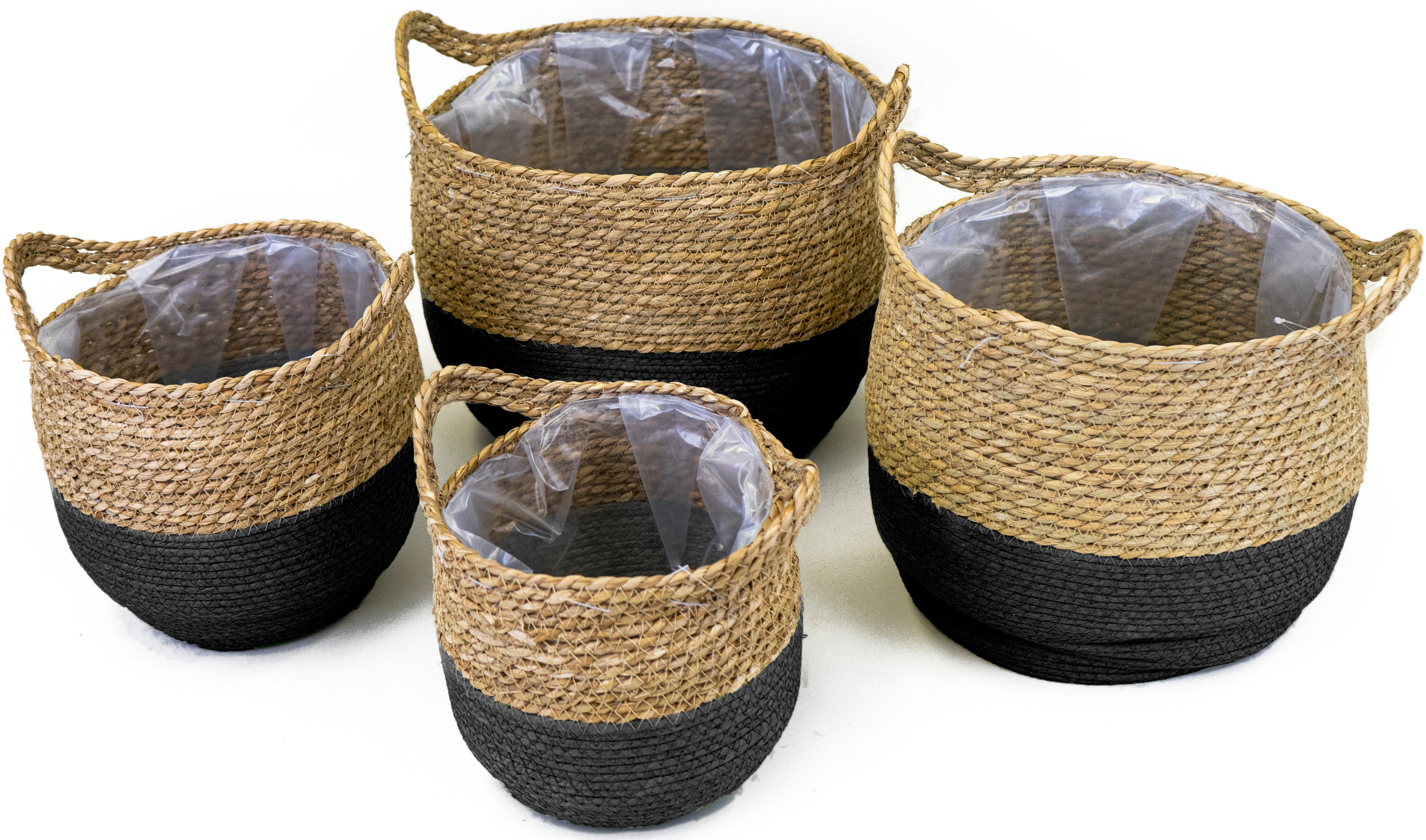 NOOR LIVING Aufbewahrungskorb, (Set, 4 St.), dekorative Aufbewahrung von verschiedenen Utensilien schwarz Körbe Ordnung Wohnaccessoires Aufbewahrungskorb