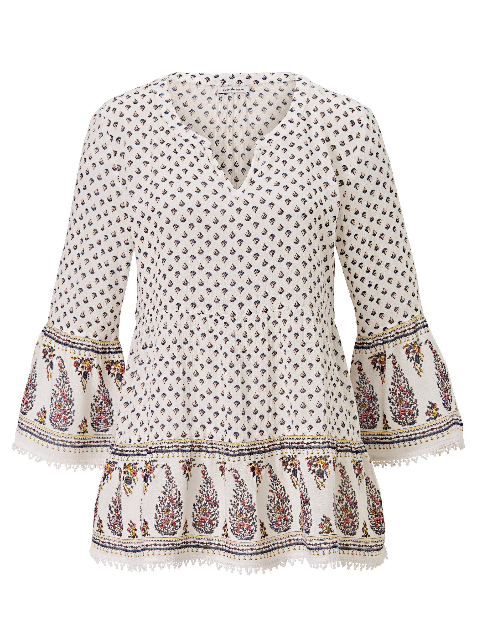 Copo de Nieve Tunika mit Minimal Print   Bekleidung > Tuniken > Sonstige Tuniken   Weiß   Viskose   Copo De Nieve