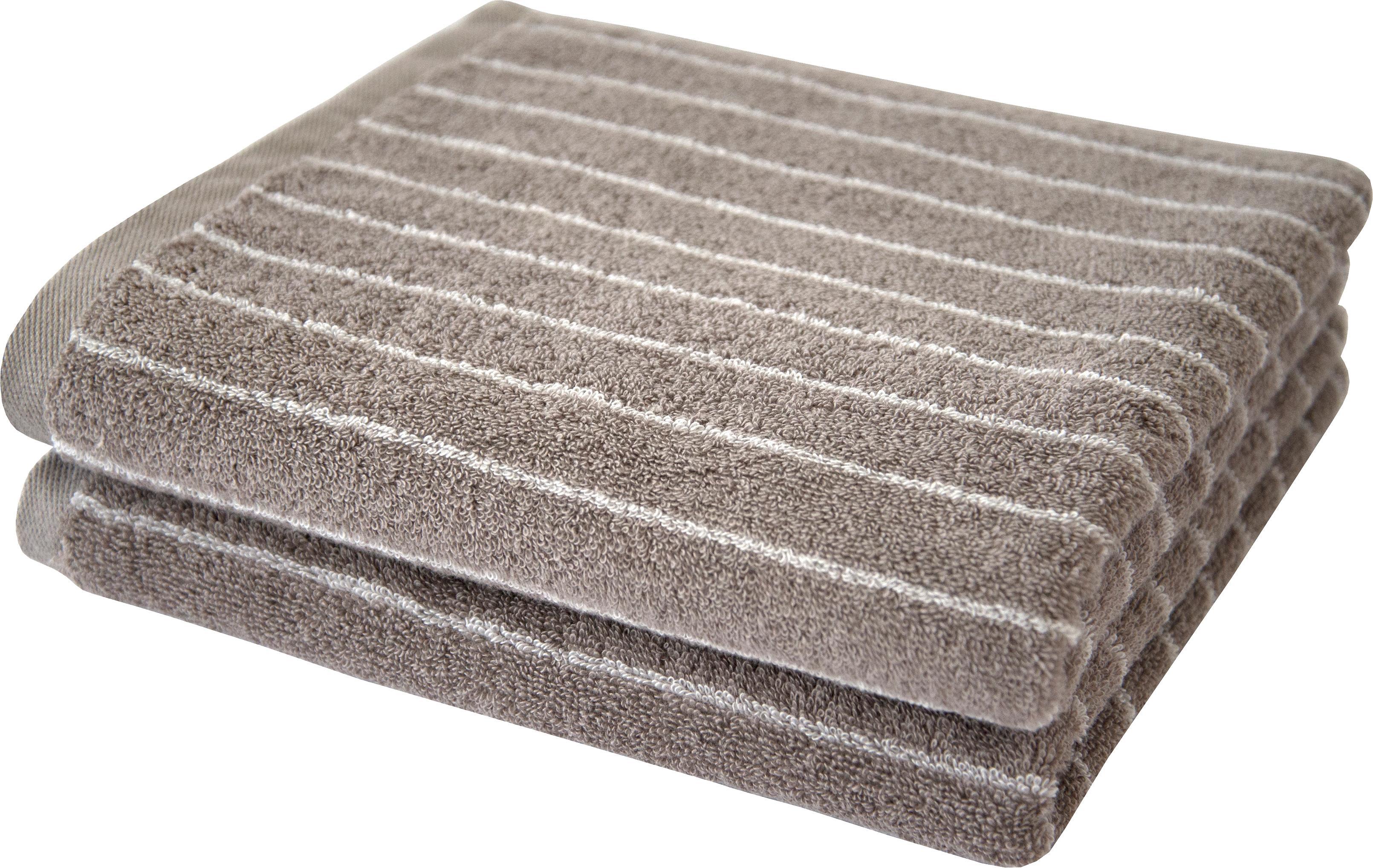 Dyckhoff Handtücher Nadelstreifen, (2 St.), mit eingewebten Nadelstreifen grau Badetücher