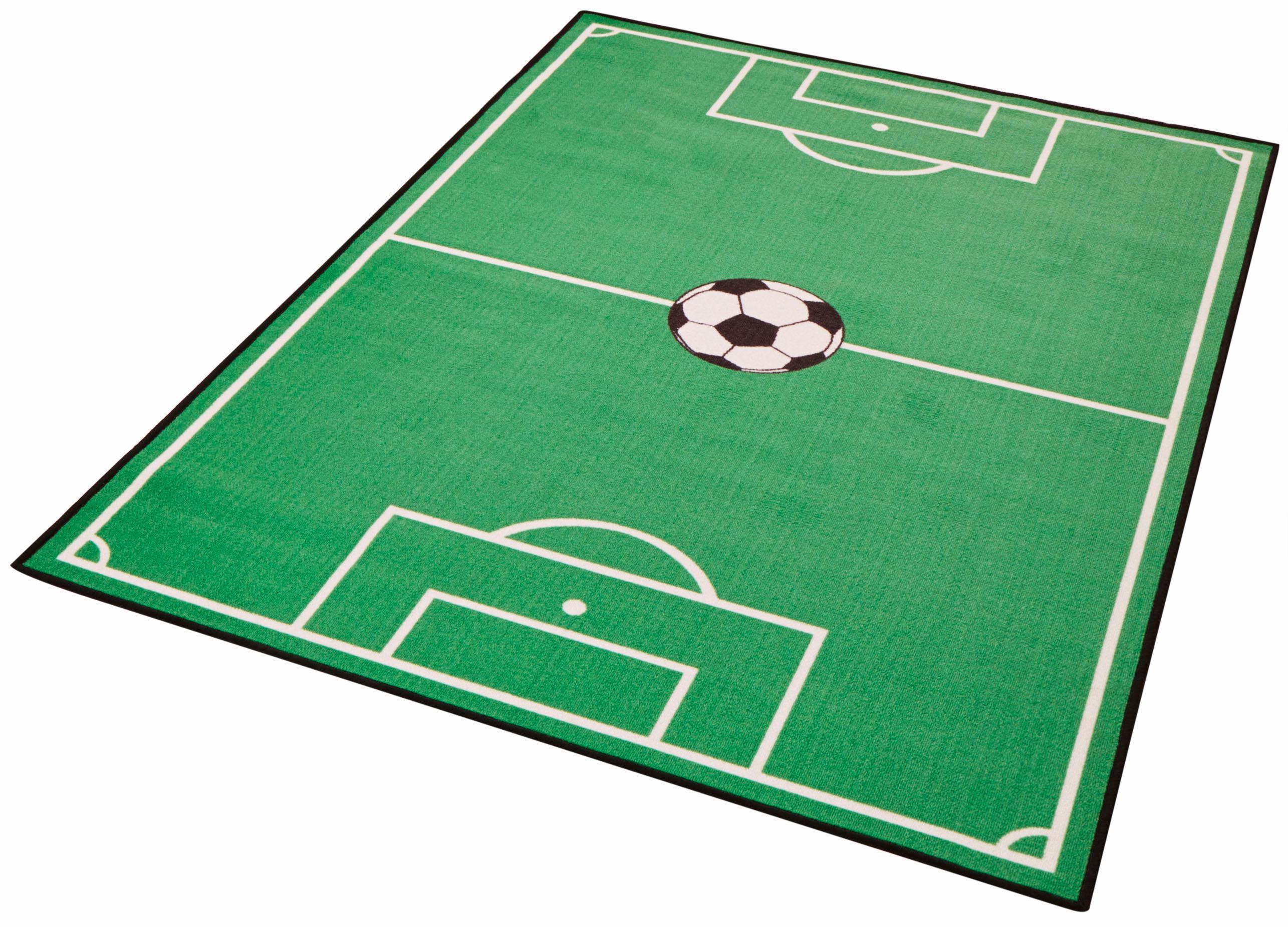 Zala Living Kinderteppich Fußballfeld 1, rechteckig, 8 mm Höhe, Kurzflor, Fußball Spielteppich grün Kinder Bunte Kinderteppiche Teppiche
