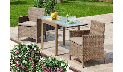 MERXX Gartenmöbelset »Treviso Premium«, 5 - tlg., 2 Sessel, Tisch 65x130, Polyrattan, inkl. Auflagen kaufen