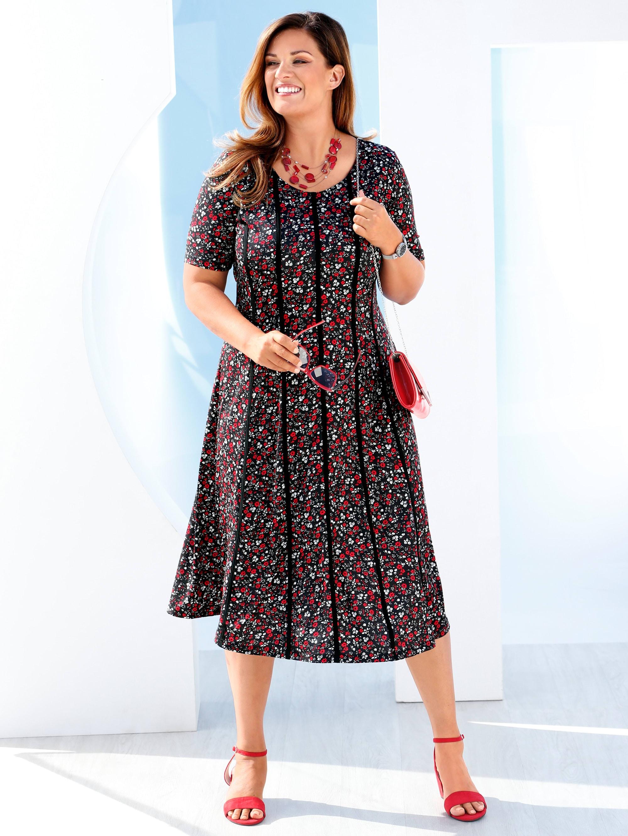 m. collection - m collection Kleid mit romantischem Blumen-Druckmuster rundum