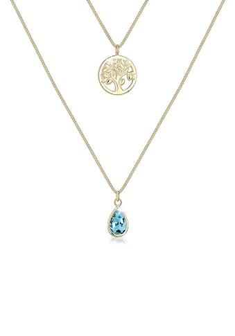 Elli Collierkettchen »Lebensbaum Drop Swarovski® Kristalle 925 Silber« kaufen