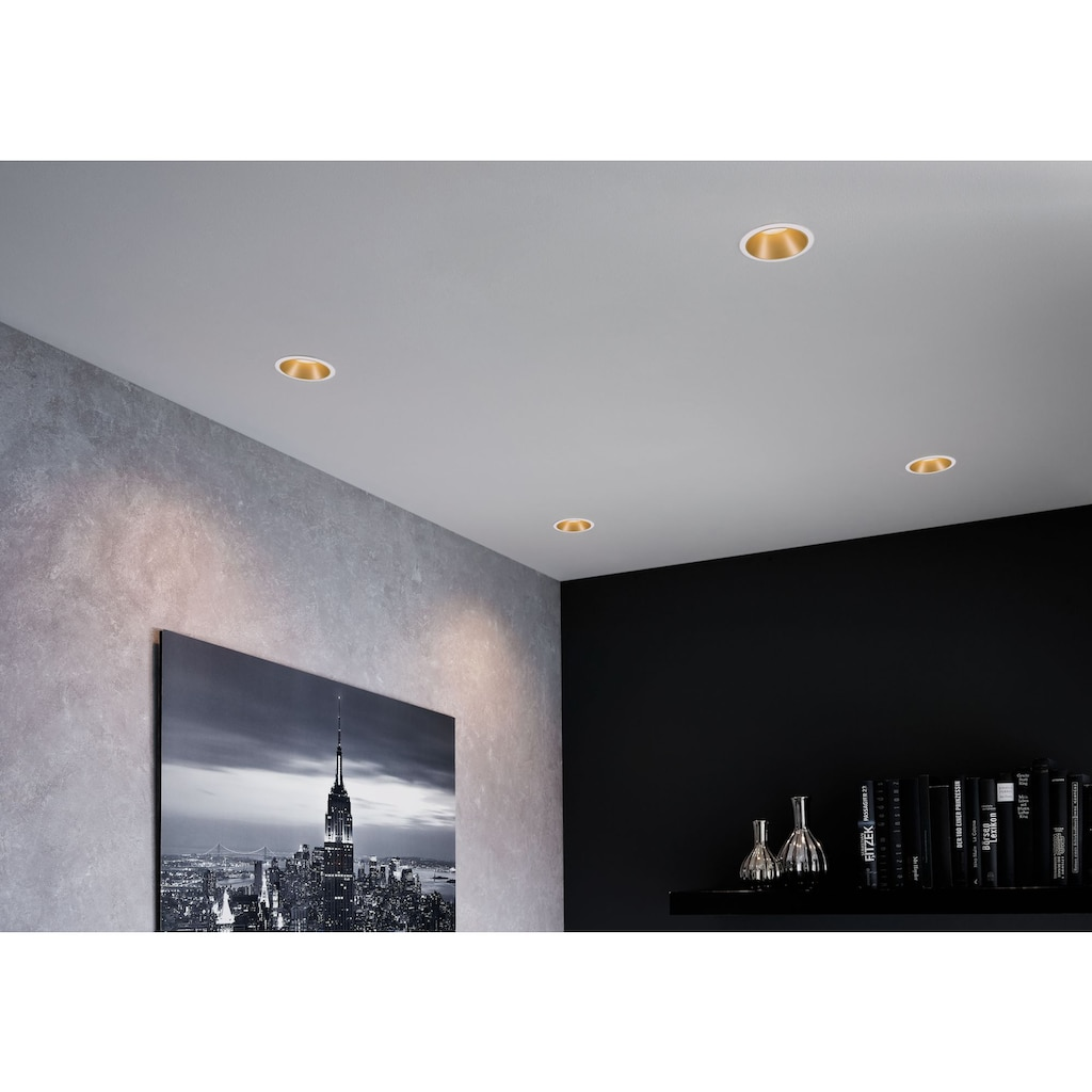 Paulmann LED Einbauleuchte »3er Set Cole 3x6,5W Weiß/Gold matt 3-Stufen-dimmbar 2700K Warmweiß«, Warmweiß, Deckenspots, 3er Set