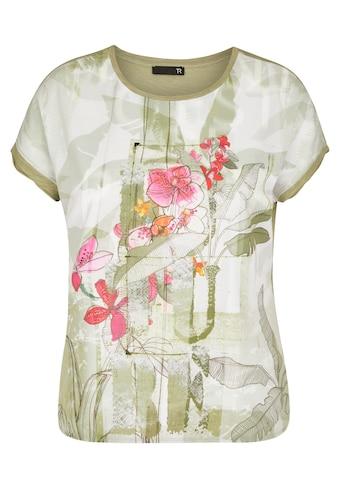 Thomas Rabe Rundhalsshirt, mit floralem Muster und Strass-Steinen kaufen