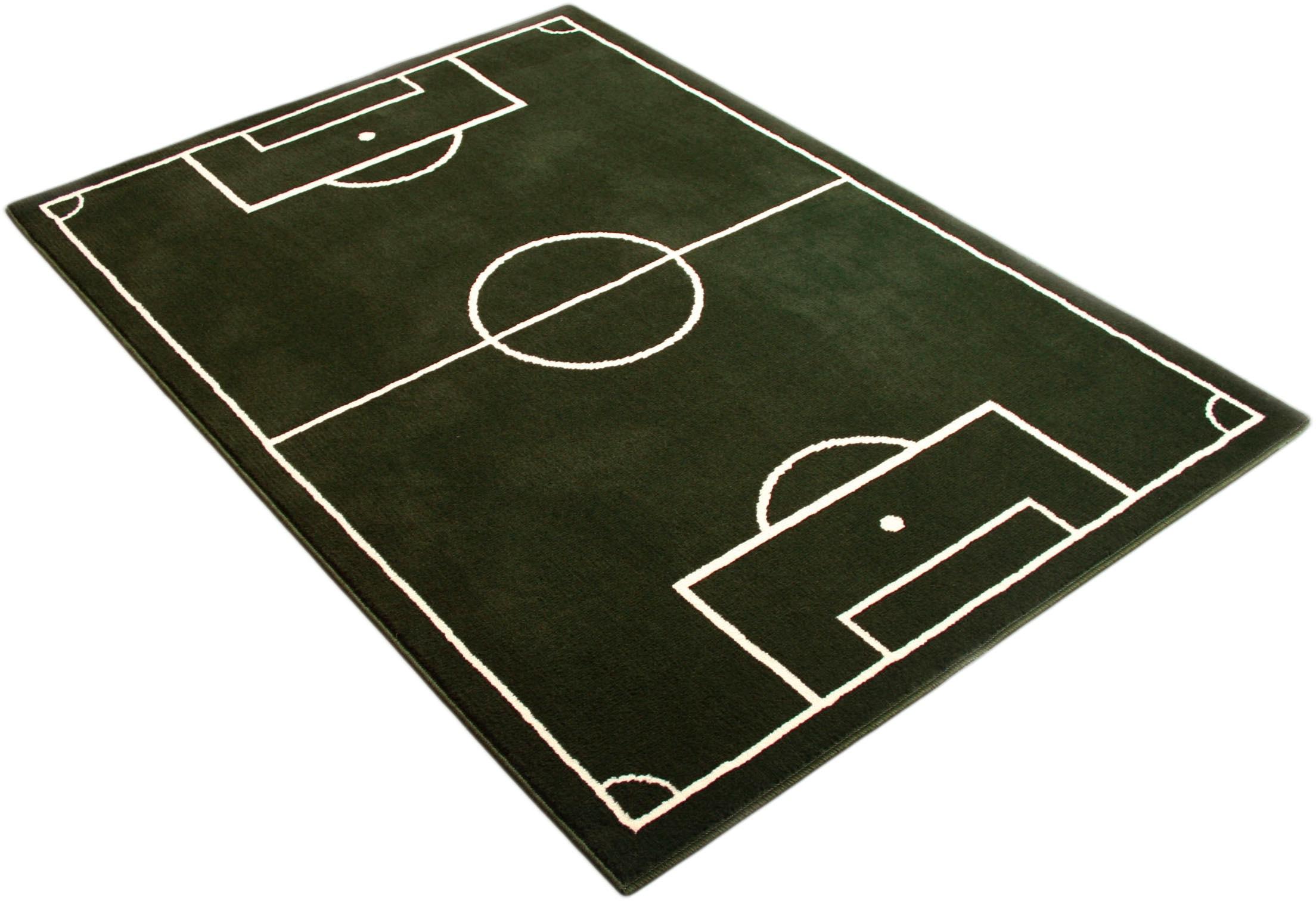 HANSE Home Kinderteppich Fussballplatz, rechteckig, 9 mm Höhe, Fußball, Spielteppich grün Kinder Bunte Kinderteppiche Teppiche